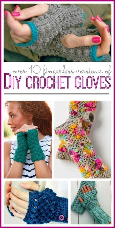 DIY Fingerless Crochet Gloves | Mitones, Guantes y Bazares