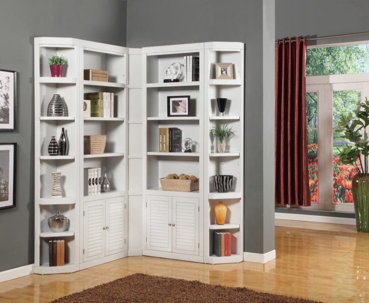 L Shaped White Bookcase With Shutter