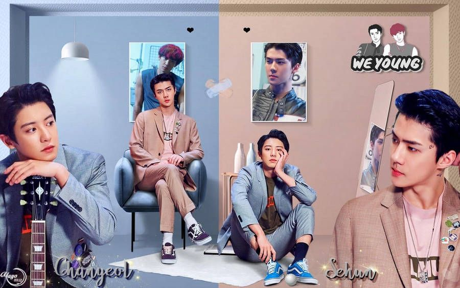Exo Chanyeol X Sehun We Young Wallpaper By Yuyo8812 In 2020 Exo Chanyeol Exo Exo Wallpaper Hd