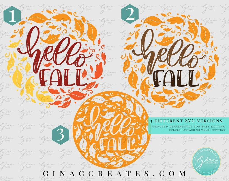 Hello Fall SVG Bundle, Fall leaves svg, autumn leaves svg
