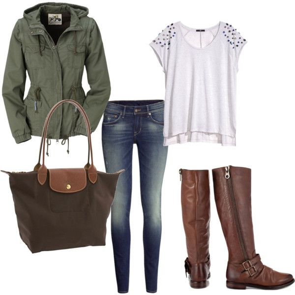 Fall outfit -- olive green jacket studded detail shirt skinnies and brown riding boots ...