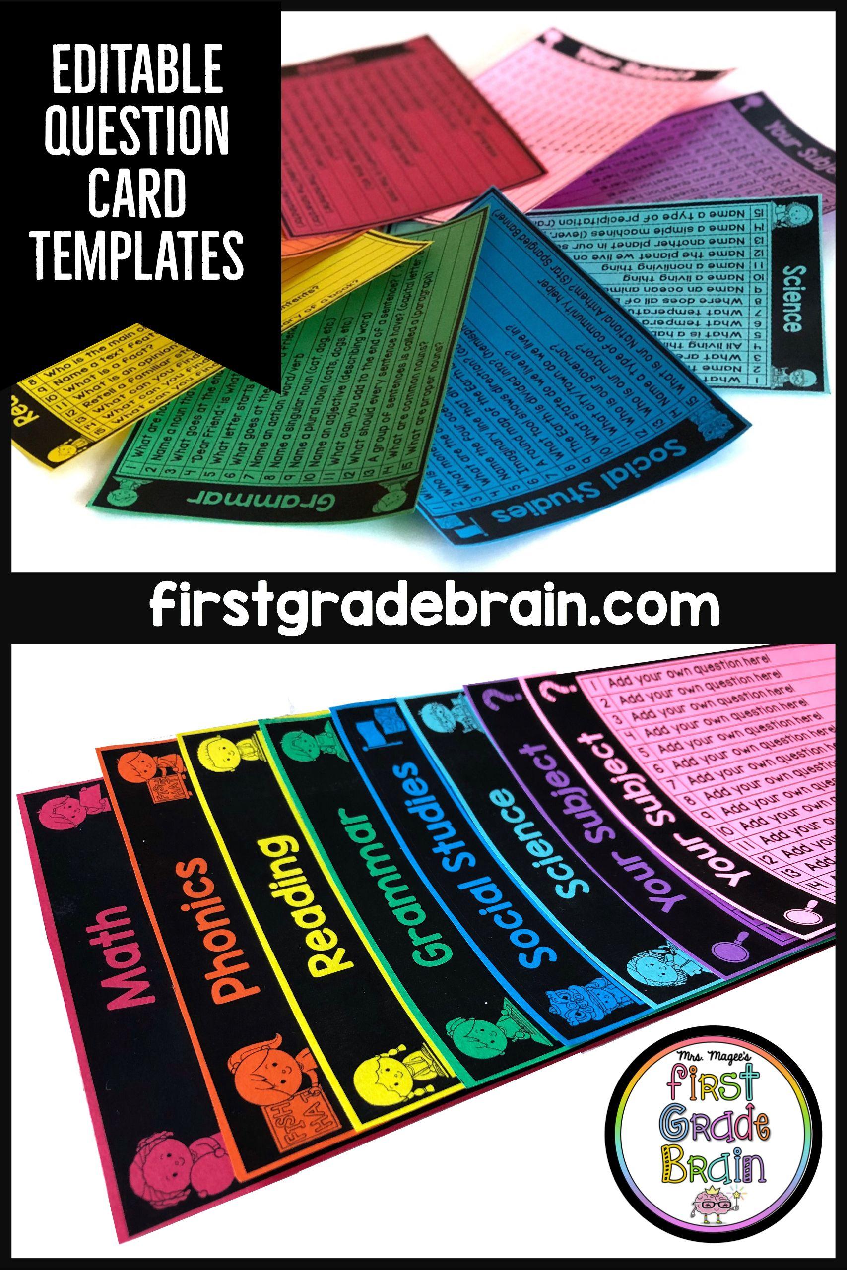 Question Cards Editable Templates