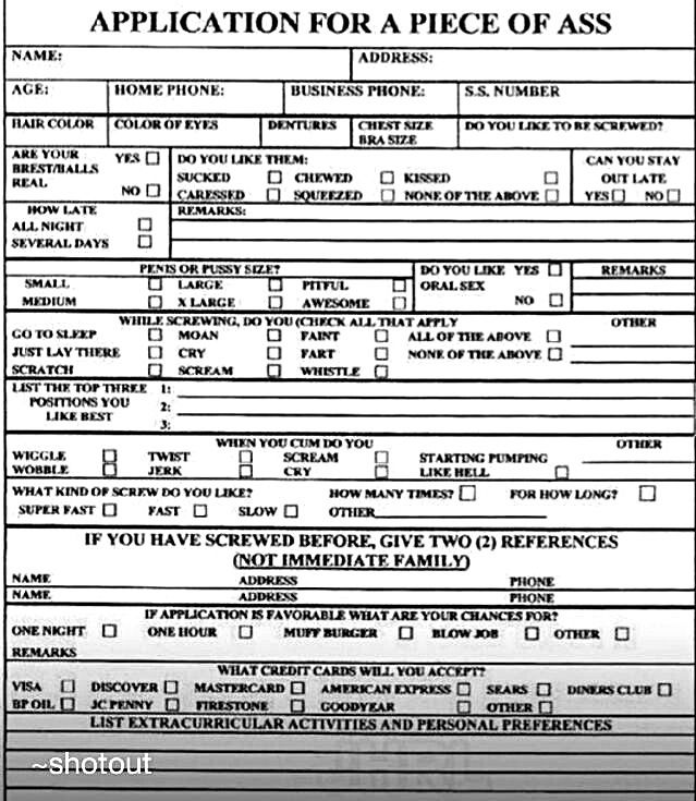 Dating application form