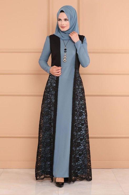 Elbise Yelegi Dantel Elbise Kombin Asm2097 Bebe Mavisi Islami Giyim Basortusu Modasi Moda Stilleri