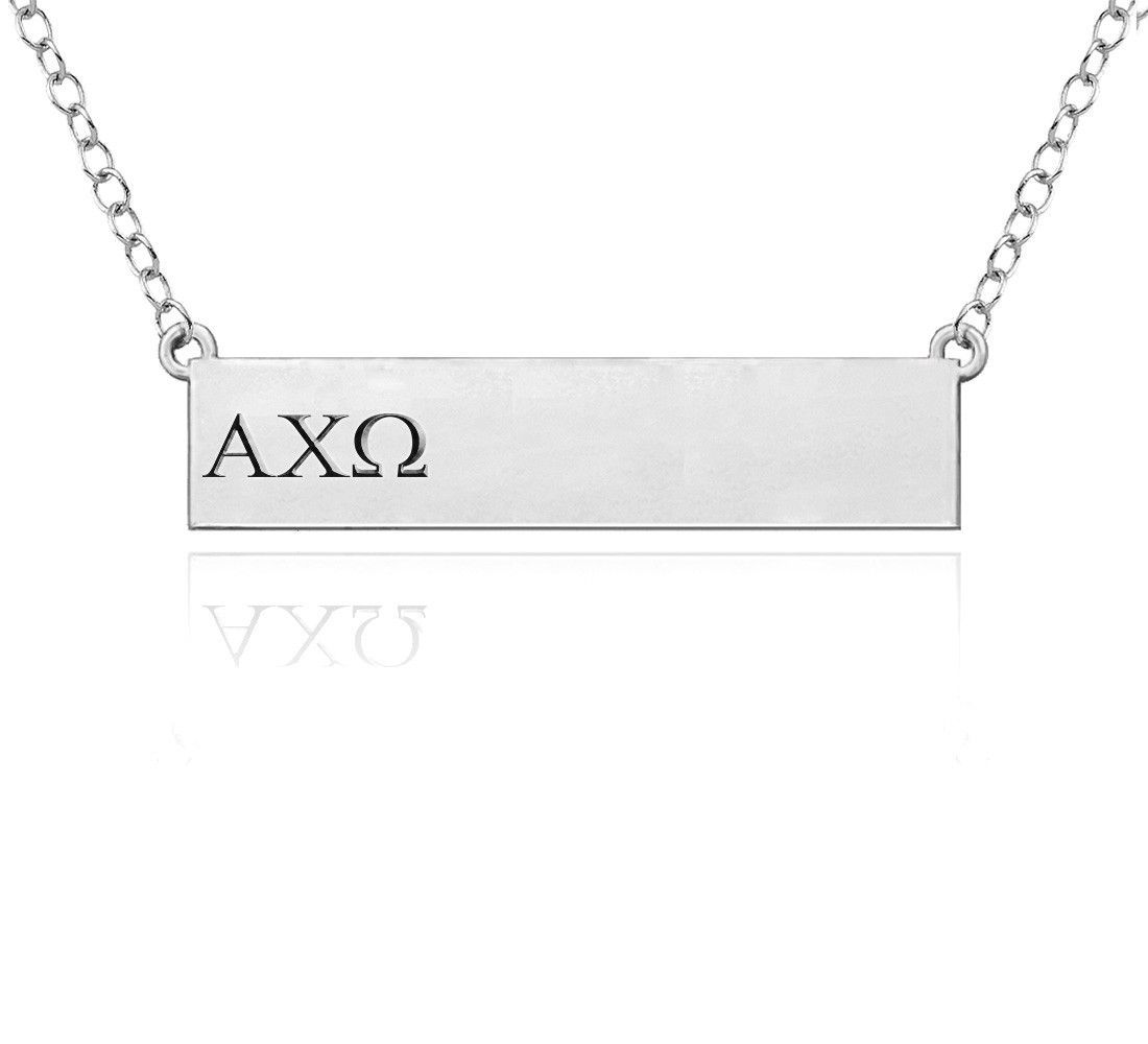 Alpha Chi Omega Greek Letters Sterling Silver Bar Style