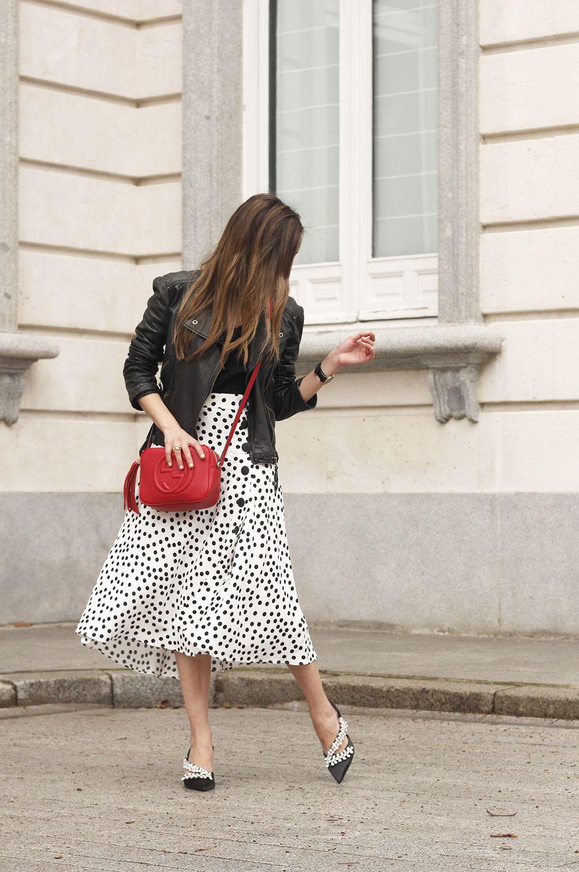 3a76e0acf059b Vintage 70 s Polka Dot Midi Skirt R4S077