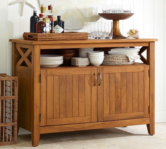Great Hampstead Teak Buffet   Honey | Pottery Barn