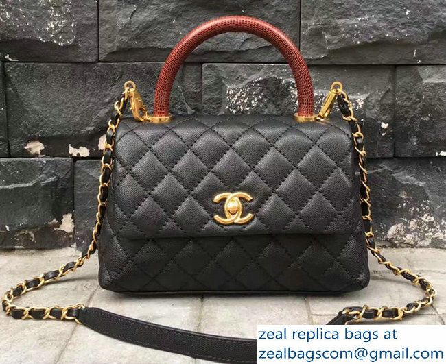 974a94ef230db1 Chanel Coco Top Handle Flap Shoulder Bag Grained Calfskin Lizard Pattern  A92991 Black/Red 2017