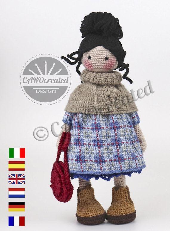 Crochet Pattern for Doll RHONDA, pdf (Deutsch, English, Français, Nederlands, Español, Italiano)