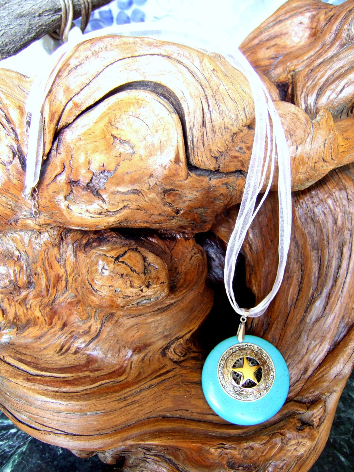 TURQUOISE TEXAS STAR Necklace Pendant on Blue Howlite Stone with Silver Trim by argenesgems on Etsy