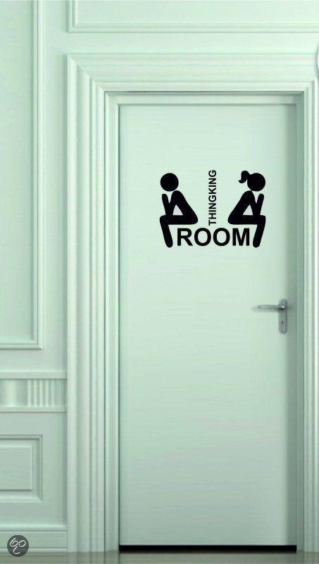 Muursticker of deursticker Toilet thinkingroom M zwart | Segnaletica ...