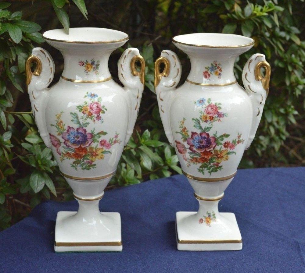 Pair vintage lenox rose china porcelain empire vases 2 multi color pair vintage lenox rose china porcelain empire vases 2 multi color floral w gold floridaeventfo Image collections