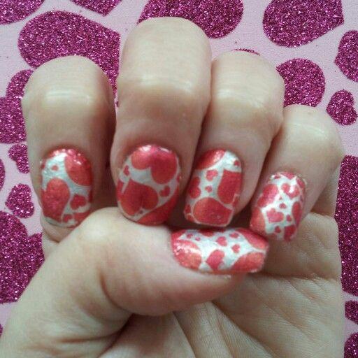 Another #Valentine's Day nail design using #SallyHansen #Nail #polish #strips