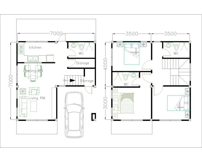 Small House Design 7x7m With 3 Beds Simple Design House Small House Design Small House Design Plans Home Design Plan Small house plan and elevation