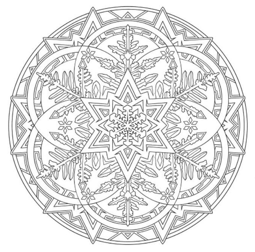 Mandala 738 Creative Haven Snowflake Mandalas Coloring Book Dover Publications Mandala Coloring Pages Coloring Book Pages Christmas Coloring Pages