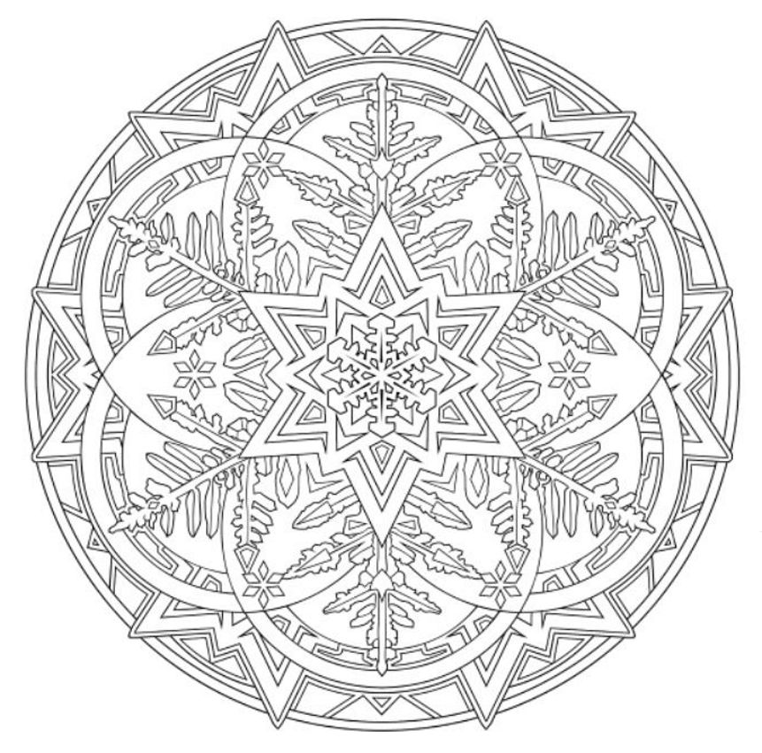 Mandala 738 Creative Haven Snowflake Mandalas Coloring Book