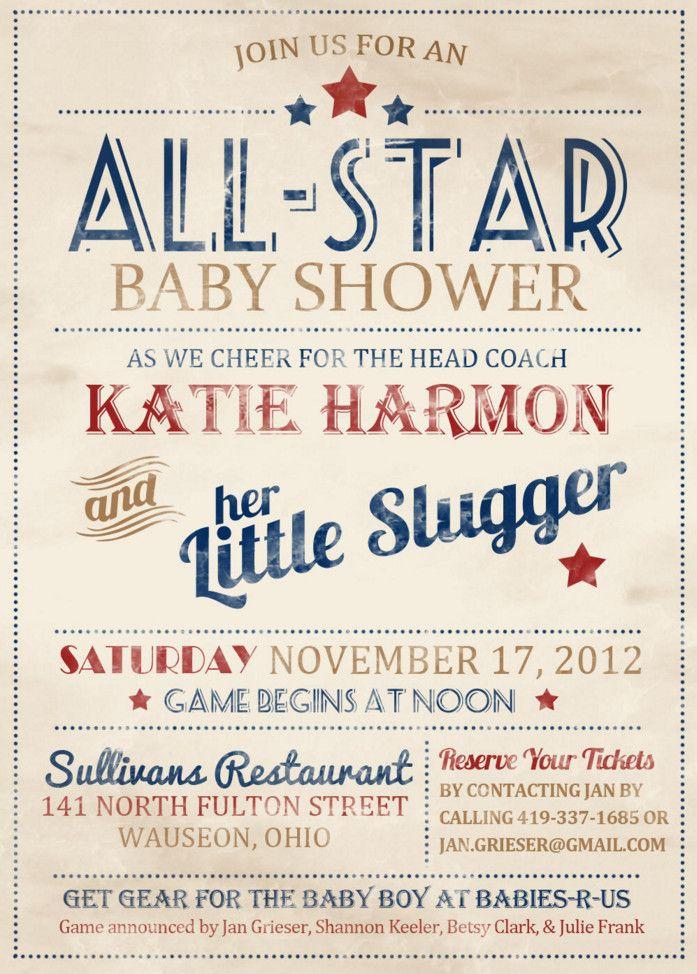 vintage baseball baby shower invitation   Baby Shower   Pinterest ...