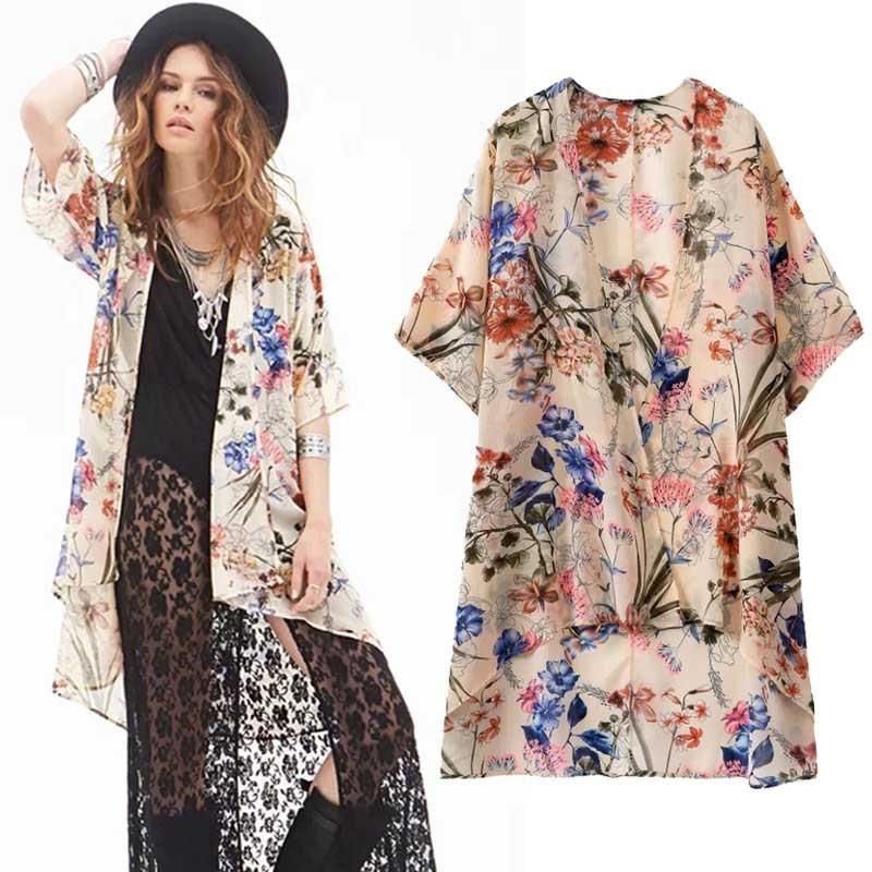 109ea14a5 Women Vintage Long Print Kimono Side Slit V-Neck Long Sleeve. Womens Floral  Print Long Loose Over Shirt ...