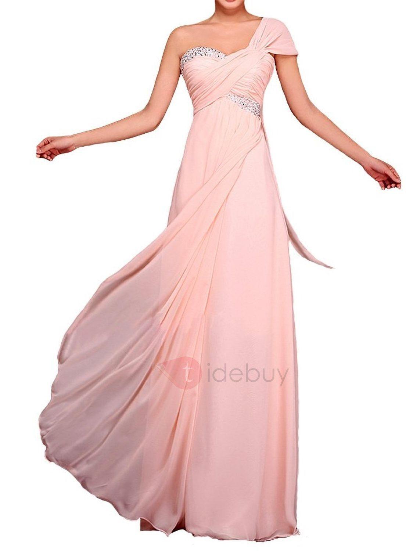 Cintura del imperio de un solo hombro rebordear gasa vestido de dama ...