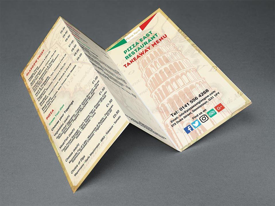 Tri Fold Leaflet Design For Marketing Pizza East