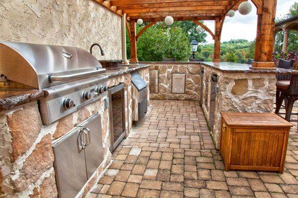 French Style Outdoor Kitchen With Views Rustic Outdoor Kitchens