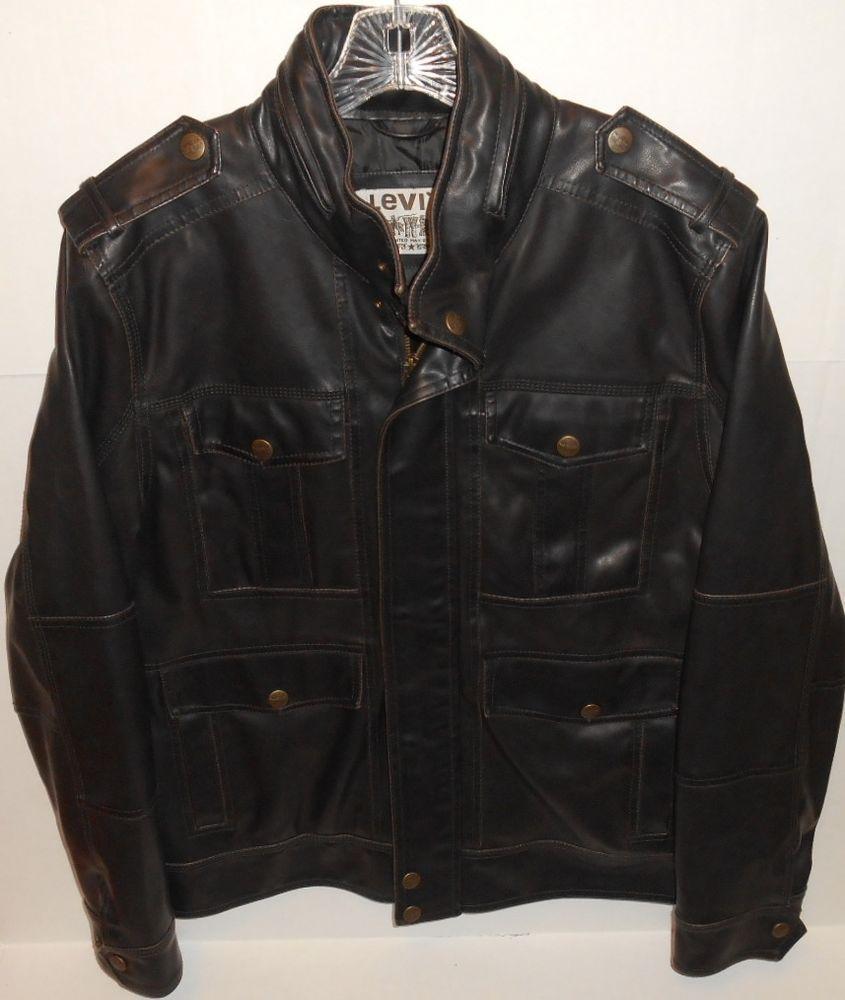 Levi's Brown Faux Leather Medium Biker Style Jacket pJCpllHC