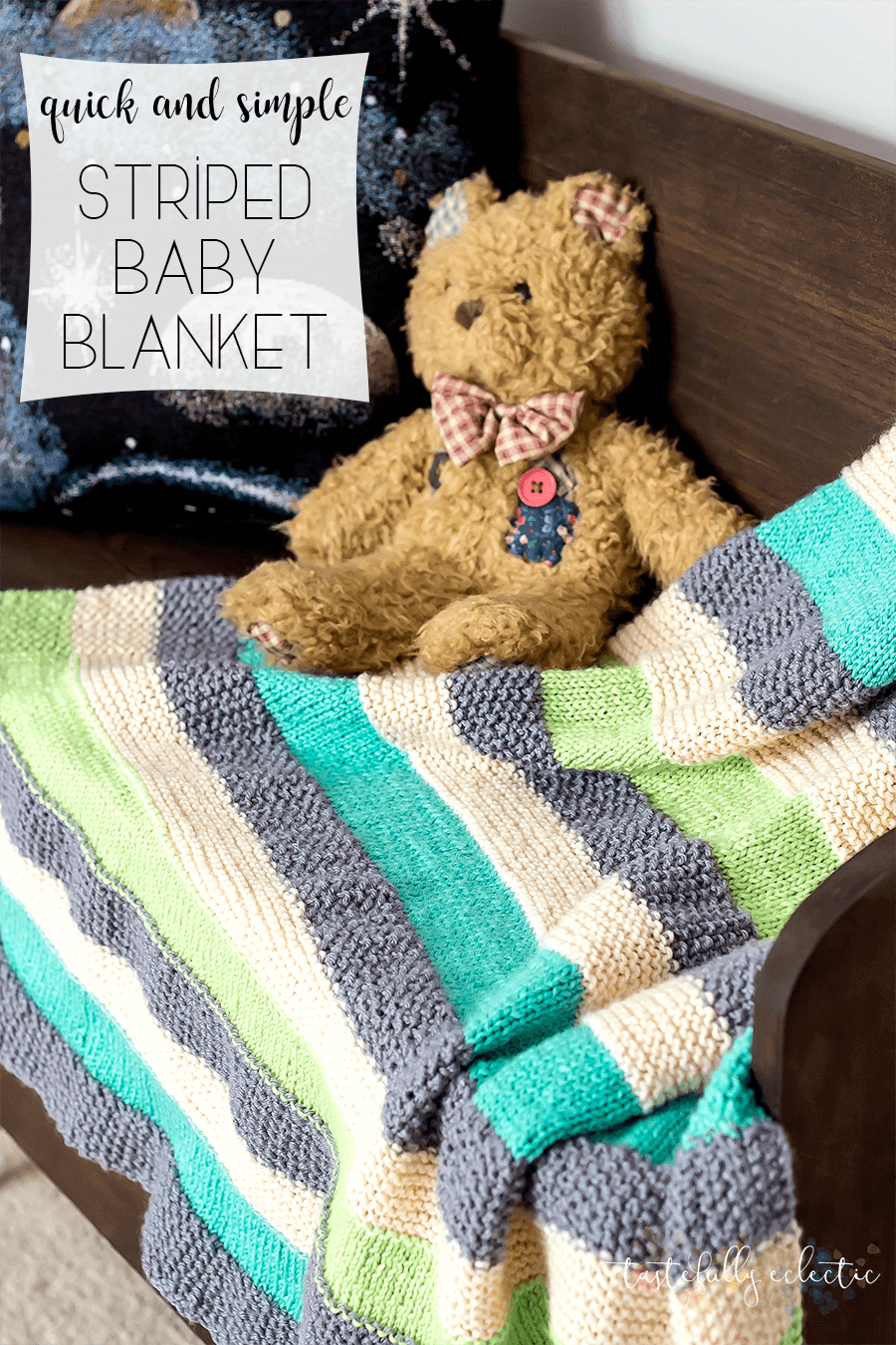 Quick and Simple Striped Knitted Baby Blanket