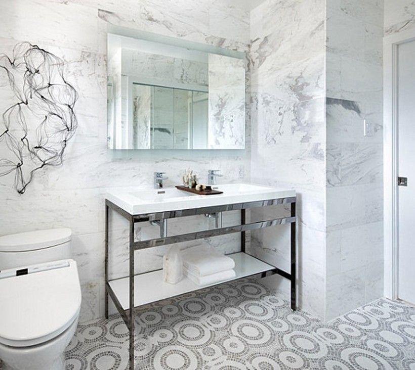 Bathroom White Bathroomr With Mosaic Marble Floor Tile Pattern