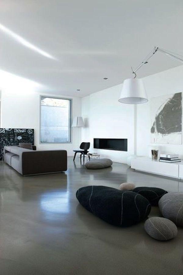 Sol En Resine Prix Au M Et Conseils Pour Le Meilleur Choix Salons Minimalistes Interieur Maison Contemporaine Maison Minimaliste