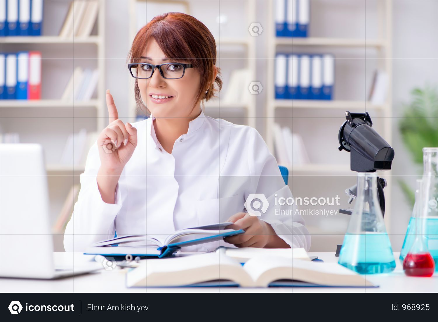 Female Scientist Researcher Conducting An Experiment In A