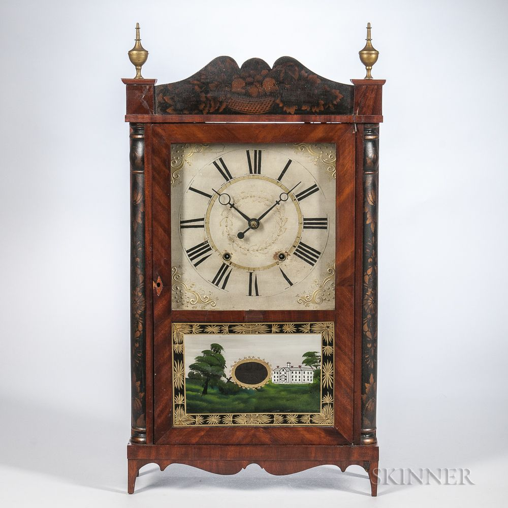 Samuel Terry Stencil Decorated Transitional Shelf Clock Sale Number 3035m Lot Number 110 Skinner Auctioneers Clock Antique Clocks Antique Wall Clock