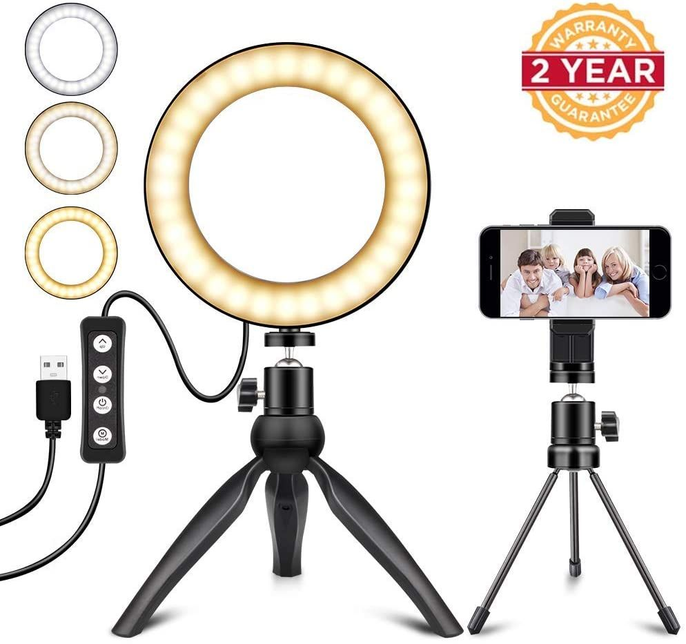 Led Ring Light Inches Dimmable With Tripod Stand Cell Phone Holder Usb Powered For Youtube Video Mak Amazon Affi In 2020 Cell Phone Holder Led Ring Light Selfie Light