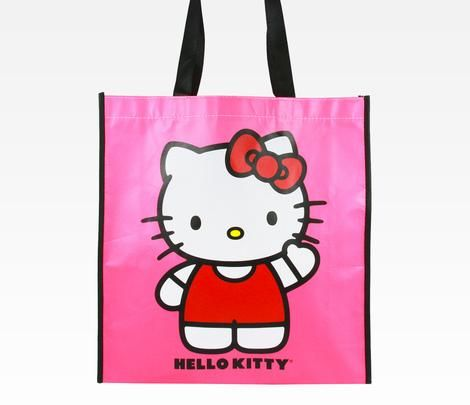 Hello Kitty Waving Large Shopping Tote Bag! - cool and environmentally friendly...