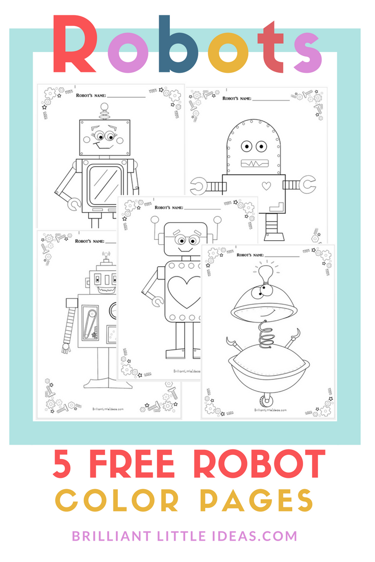 5 Free Robot Color Pages Robots Preschool Robot Birthday Party Robot Theme [ 1102 x 735 Pixel ]