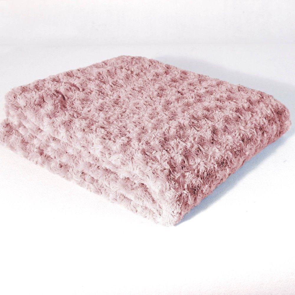 plaid imitation fourrure rose poudr plaid couverture. Black Bedroom Furniture Sets. Home Design Ideas