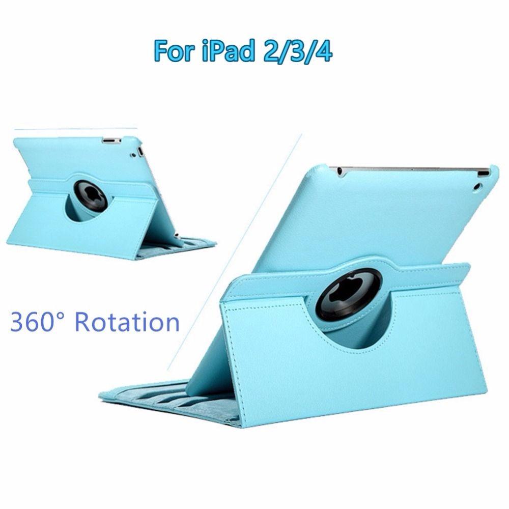 für apple ipad 2/3/4 9,7 zoll 360-grad-drehende pu-leder multi