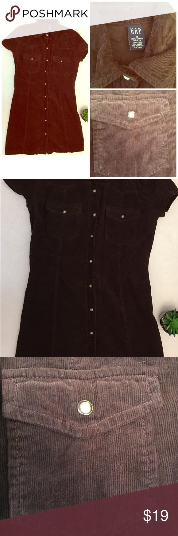 gap dark brown corduroy button mini dress dark brown mini