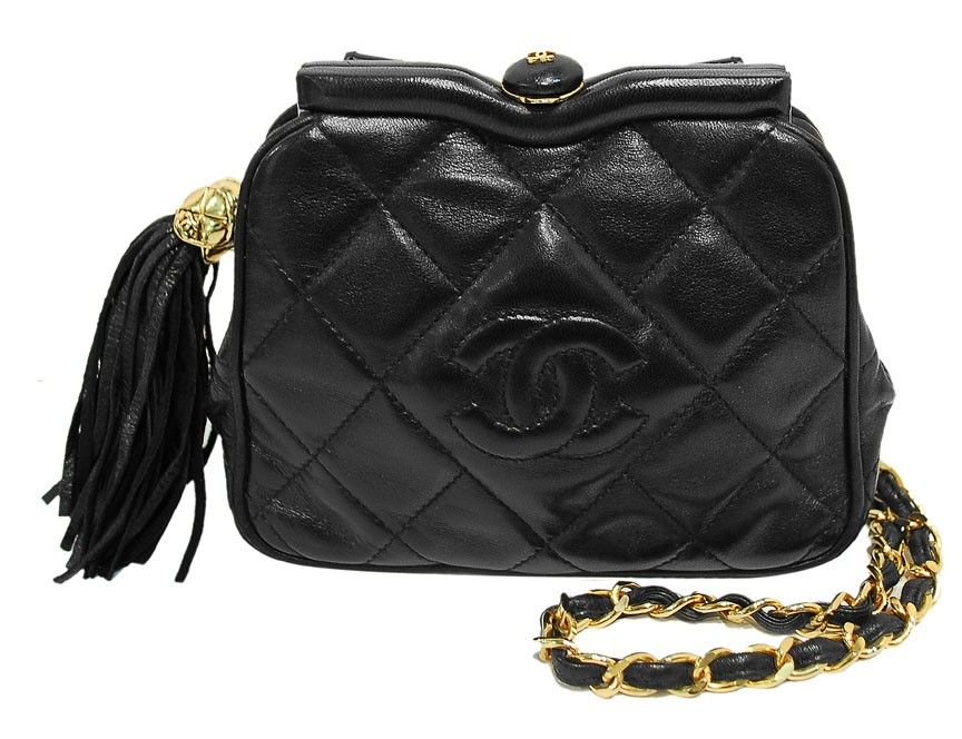 10d7e511069f18 Chanel Black Quilted Lambskin Kiss Lock Evening Bag | Detall Angela ...