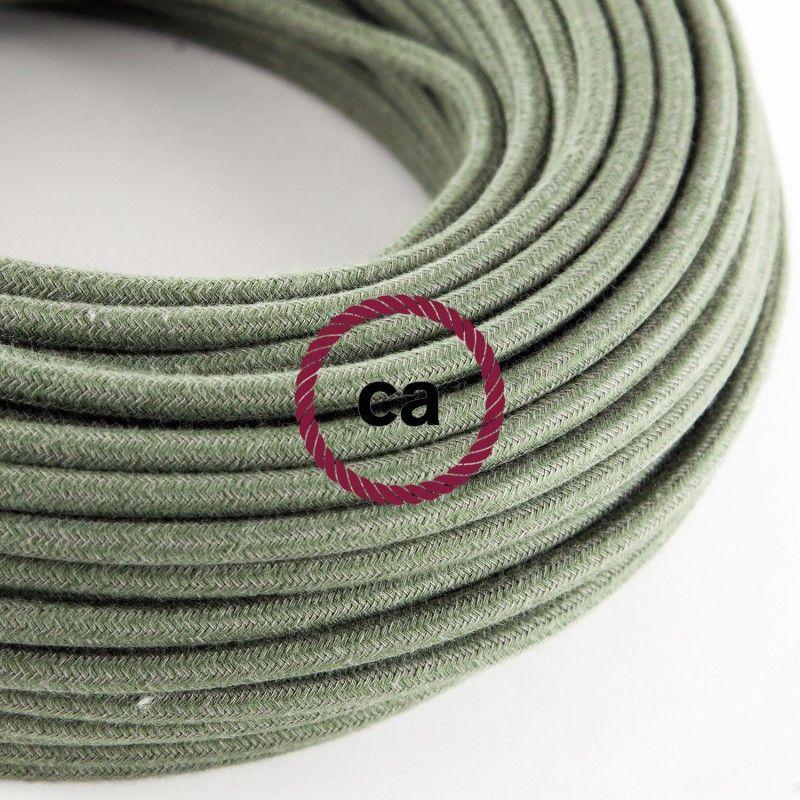 Fil Électrique Rond Gaine De Tissu De Couleur Coton Tissu Uni Vert - couleur des fils electrique
