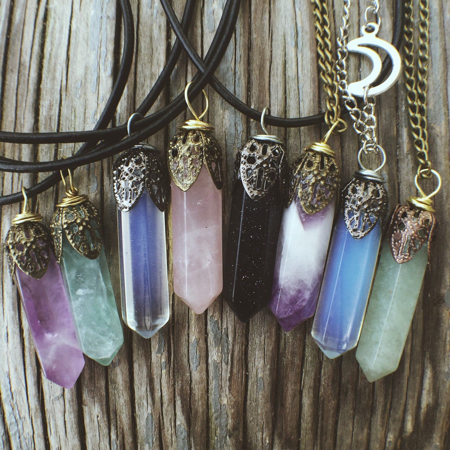 Stone pendant necklaces jewelry crystal rose quartz amethyst stone pendant necklaces jewelry crystal rose quartz amethyst opal fluorite reiki chakra boho bohemian hippie chokers blue one for me plz mozeypictures Image collections