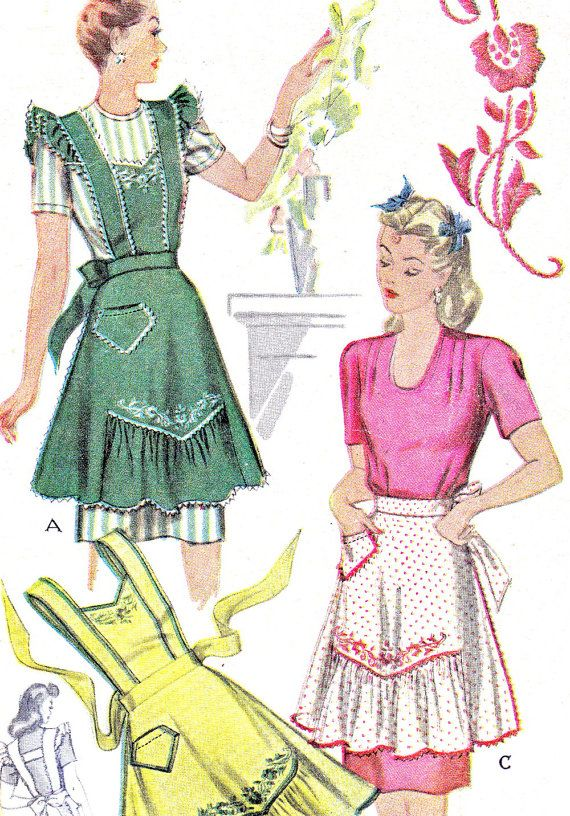 1940s Apron Pattern McCall 1124 Embroidered Full or Half Hostess ...