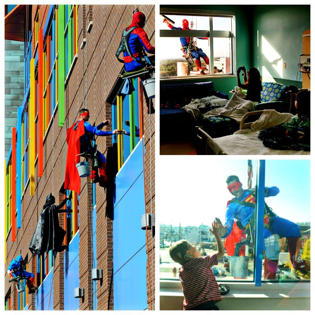 Window washers at the children's hospital of Pittsburgh