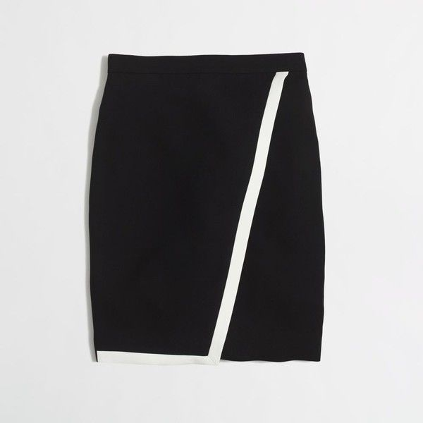J Crew J.Crew Factory tipped crepe wrap pencil skirt (59 CAD) ❤ liked on Polyvore featuring skirts, long wrap skirt, crepe skirt, pencil skirt, long skirts and j. crew skirts