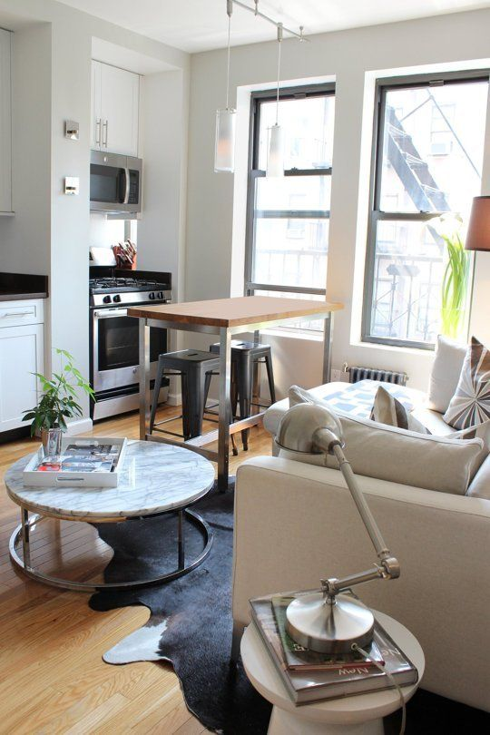 Theo s small streamlined two bedroom in hell s kitchen - Living room decor for small spaces ...