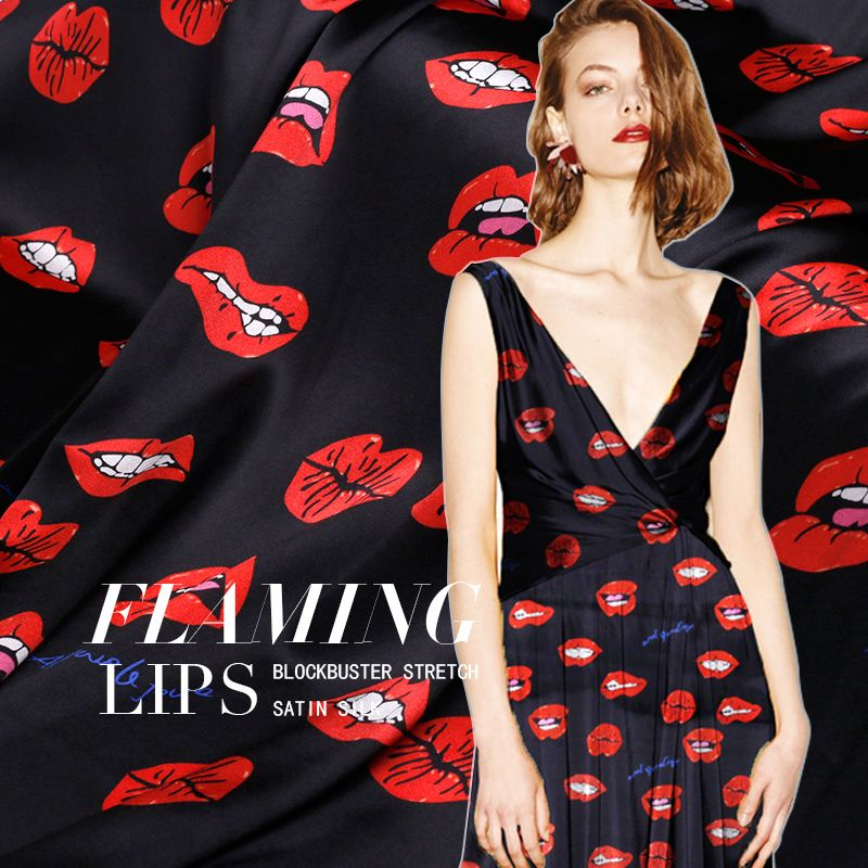 Red Lips Print Black Stretch Silk Fabric For Valentine S Day
