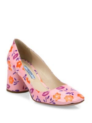 PRADA Flower-Print Patent Leather Block-Heel Pumps. #prada #shoes #