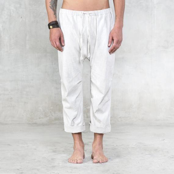 6380339555bc COMMUNE LINEN PANTS - Drawstring Bucket Pant for Men and Women ...