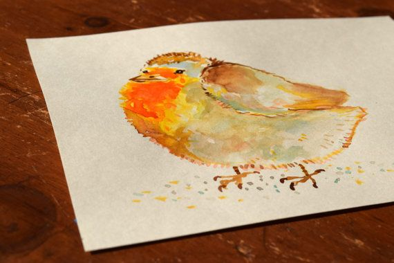 This Very Plump Little Bird Is An Original Watercolor Painting On