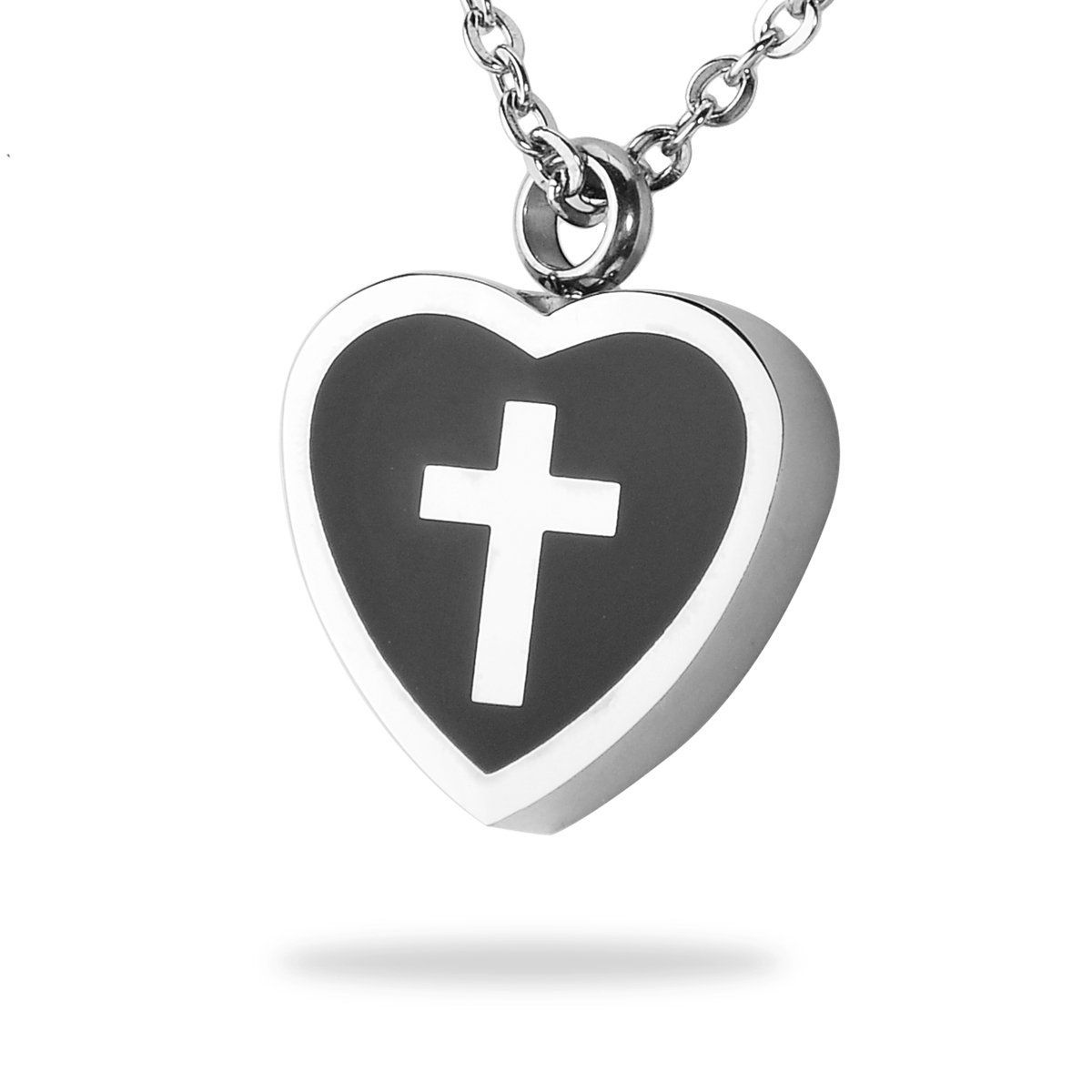 HooAMI Cremation Jewelry Cross Heart Pendant Memorial Urn Necklace Ash Holder Stainless Steel Silver Black >>> Click image for more details.