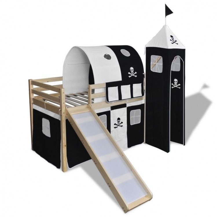 Childrens Loft Bed Slide Ladder Pirate Themed Black White Tent Bunk Wood Bedroom #ChildrensLoftBed